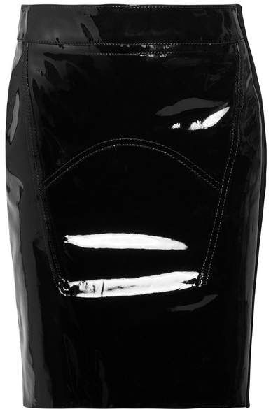TOM FORD - Suede-trimmed Patent-leather Mini Skirt - Black