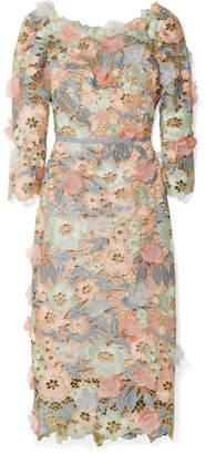 Marchesa Appliquéd Metallic Guipure Lace Midi Dress - Pink