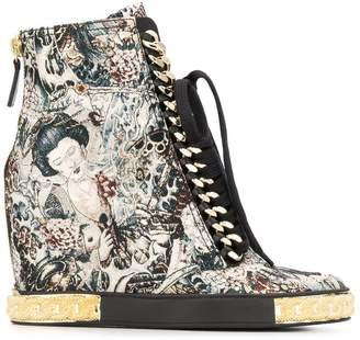 Casadei Japanese print wedged boots
