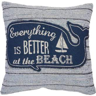 "Better Homes & Gardens Better Homes and Gardens Better at the Beach Tapestry Whale Pillow, 18"" x 18"""