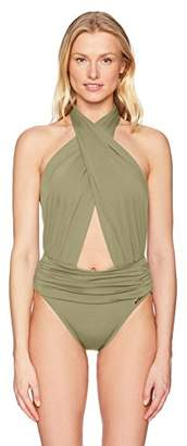 Vince Camuto Womens Riviera Solids Wrap Halter Neck One-Piece Swimsuit