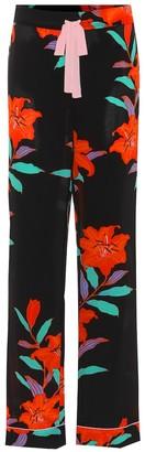 Diane von Furstenberg Floral-printed wide-leg silk pants
