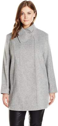 Larry Levine Women's Plus-Size Wool Herringbone Coat