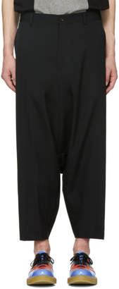 Comme des Garcons Black Wool Gabardine Drop Trousers