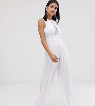 TFNC Tall Tall lace detail jumpsuit in white