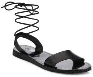 Joie Pietra Leather Ankle-Wrap Sandals
