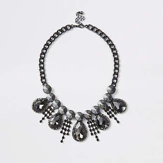 River Island Black rhinestone teardrop necklace