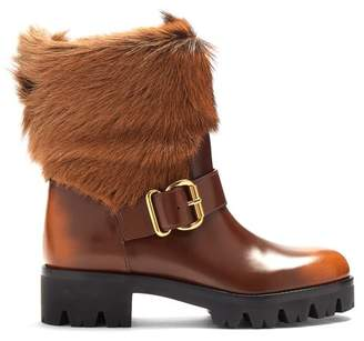 Prada Fur Trimmed Leather Ankle Boots - Womens - Brown Multi