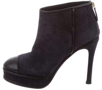 Chanel Cap-Toe Platform Ankle Booties
