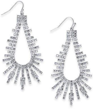 "Thalia Sodi Extra Large Silver-Tone Crystal Bar Open Drop Earrings, 2.75"""