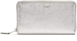 Balenciaga Metallic zip-around leather wallet