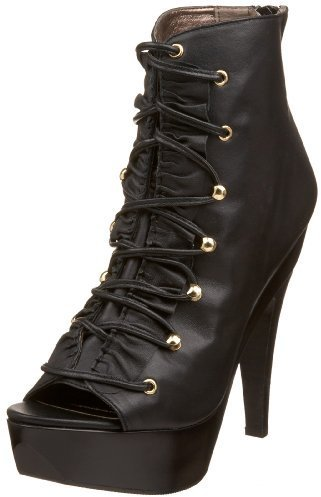 Steve Madden Women's Towwer Open Toe Lace Up Ankle Boot