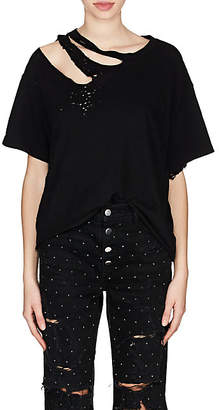 Amiri Women's Slash Cotton T-Shirt - Black