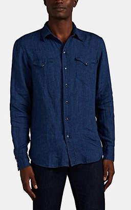 Ralph Lauren Purple Label Men's Linen Chambray Western Shirt - Dk. Blue