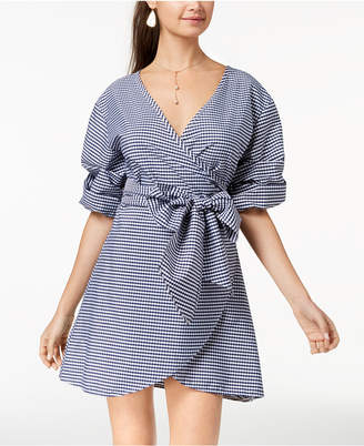 The Edit By Seventeen Juniors' Gingham-Print Wrap Dress, Created for Macy's