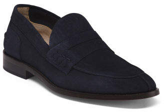 Made In Italy College Suede Penny Loafers