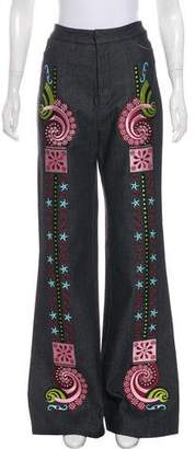 Holly Fulton 2016 High-Rise Embroidered Jeans