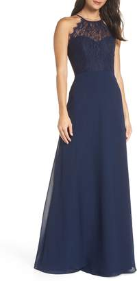 Paige Hayley Occasions Lace Halter Overlay Chiffon Gown