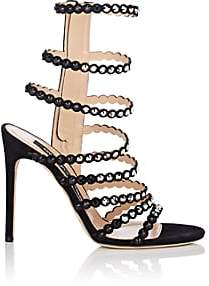 Sergio Rossi Women's Dégradé-Crystal-Embellished Suede Multi-Strap Sandals-Black
