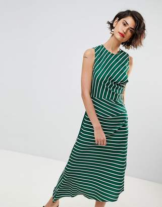Warehouse Asymmetric Hem Stripe Sleeveless Dress