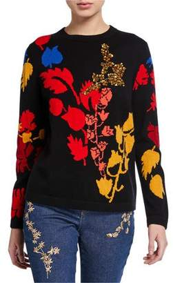 Escada Wool-Cashmere Floral Embellished Sweater
