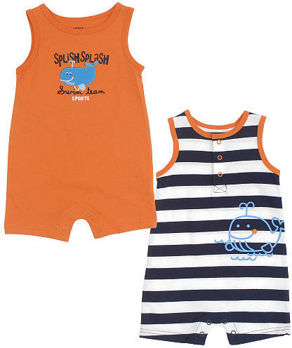 Carters Carter's 2-Pack Rompers - Orange, Navy & White (0-3 Months)