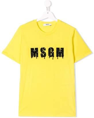 MSGM Kids TEEN beaded logo T-shirt
