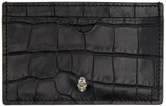 Alexander McQueen Black Croc Skull Card Holder