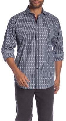 Bugatchi Geometric Stripe Long Sleeve Classic Fit Shirt