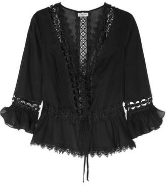 Charo Ruiz - Edda Crocheted Lace-paneled Cotton-blend Kaftan - Black