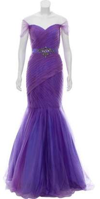 Terani Couture Tulle Embellished Evening Gown w/ Tags