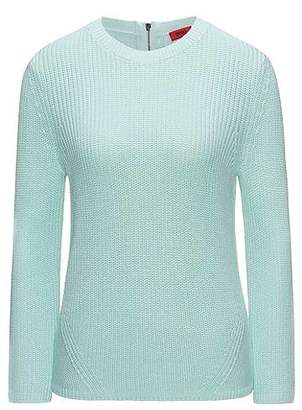 HUGO BOSS Half-cardigan knitted sweater in pure cotton