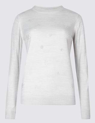 Marks and Spencer Embellished Round Neck Jumper