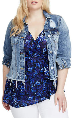 Rachel Roy Plus Curvy Destructed Denim Cropped Jacket