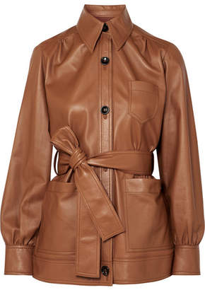 Joseph Saul Belted Leather Jacket - Brown