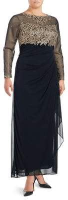 Xscape Evenings Plus Metallic Floral Floor-Length Gown