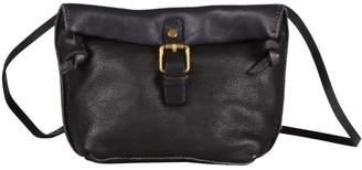 EAZO - Folded Top Leather Cross Body Bag in Black