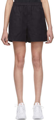 Helmut Lang Navy Resin Cotton Shorts