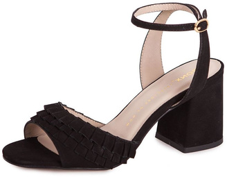 Bronx Black Suede Heeled Sandals $274 thestylecure.com