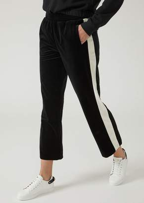 Emporio Armani Velvet Joggers With Contrasting Side Band