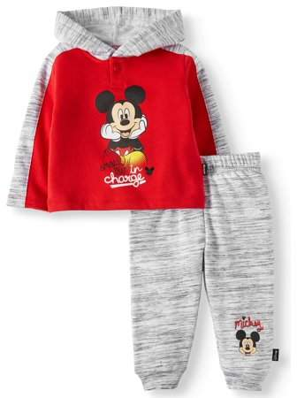 Mickey Mouse Long Pullover Hoodie Top & Jogger Pants, 2pc Outfit Set (Baby Boys)