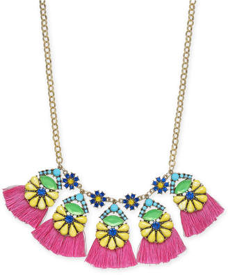 "INC International Concepts I.n.c. Gold-Tone Multicolor Bead Flower & Tassel Statement Necklace, 18"" + 3"" extender"