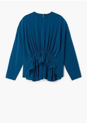 Derek Lam Long Sleeve Georgette Blouse With Gathered Waist Detail