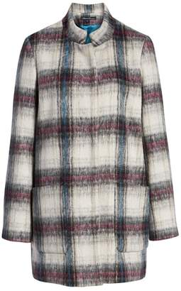 Kenneth Cole New York Drop Shoulder Plaid Wool Blend Coat