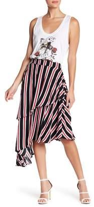 Religion Asymmetrical Striped Ruffle Skirt