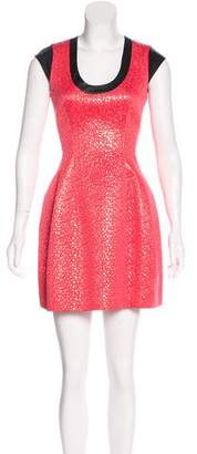 Yigal Azrouel Cut25 by Leather-Trimmed Jacquard Dress