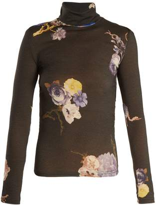 Acne Studios Cleo high neck floral-print wool sweater