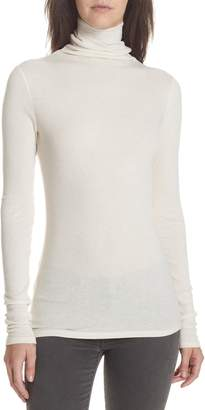 Theory Ribbed Cotton & Cashmere Turtleneck Top