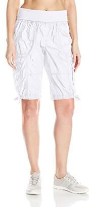 "Calvin Klein Women's Jersey Rollover Waistband Cargo Bermuda Short 12"" Inseam,S"