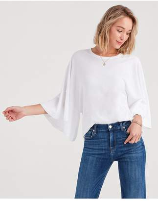7 For All Mankind Flare Sleeve Tee In Optic White